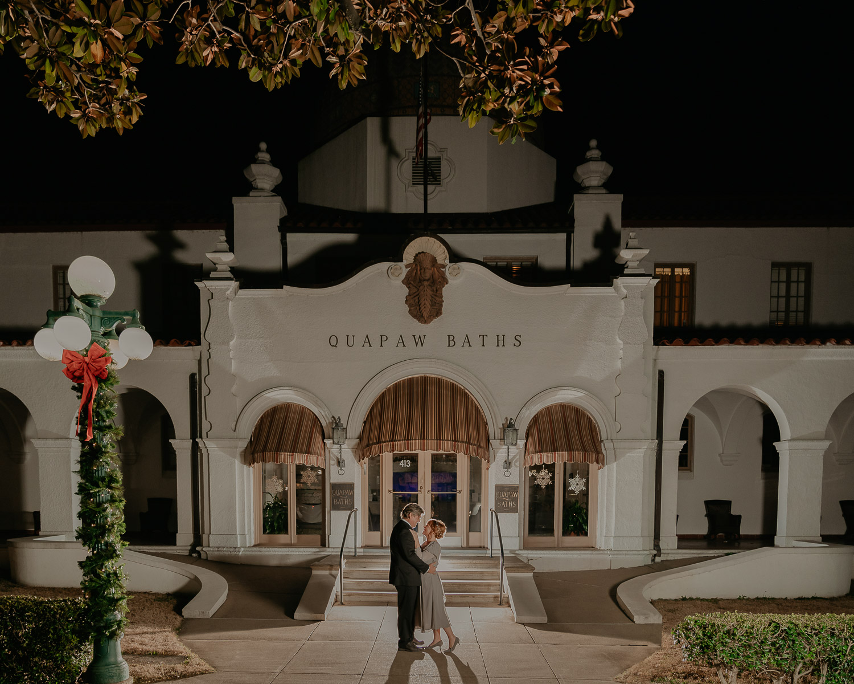 quapaw-baths-hot-springs-arkansas-elopement-wedding-night-christmas-lights-vintage-tulsa-photographer