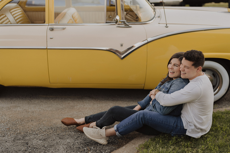 tulsa-engagement-photographer-yellow-vintage-car-downtown-tulsa