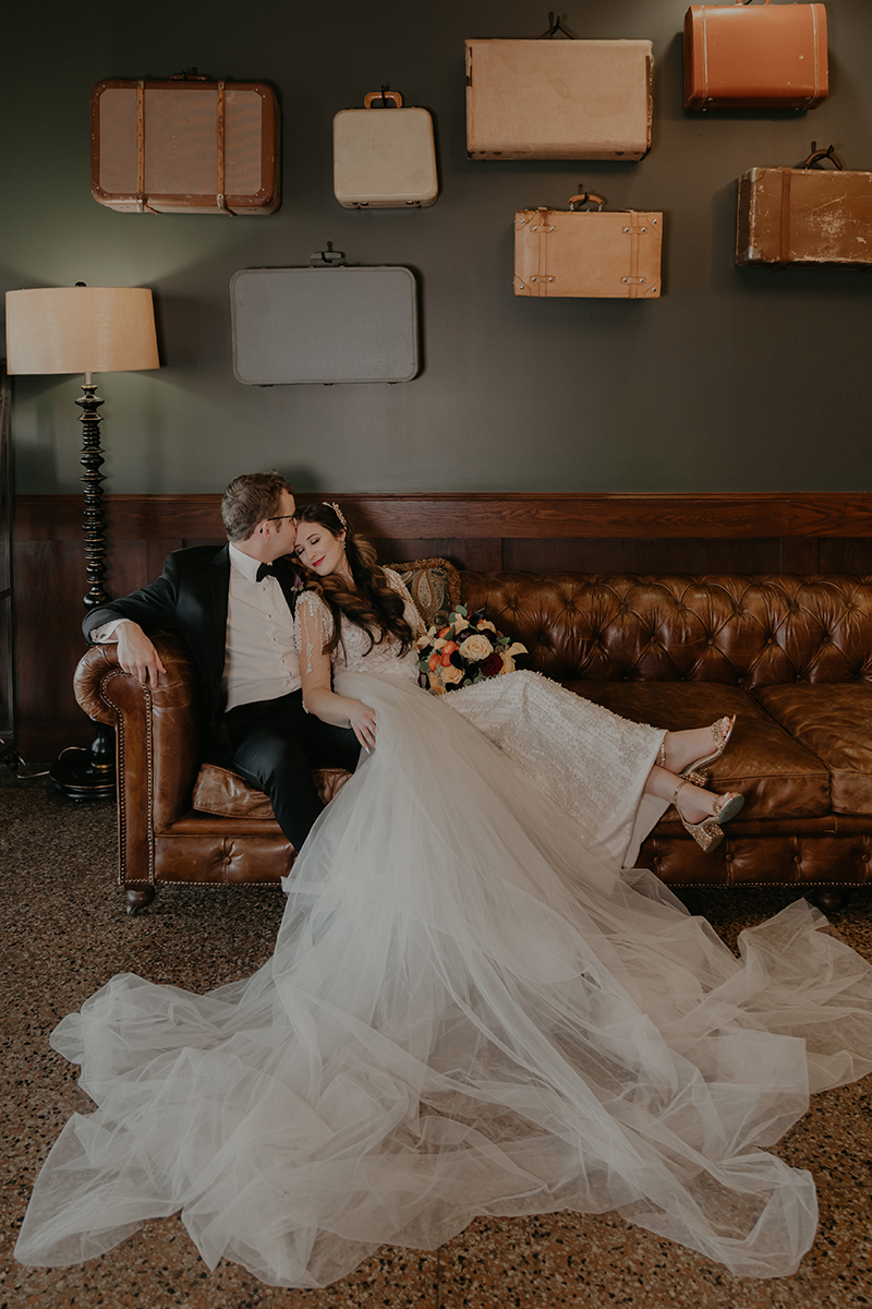 Halloween-Wedding-Campbell-Hotel-Suitcase-Wall-Leather-Couch-Tulsa-Wedding-Photographer