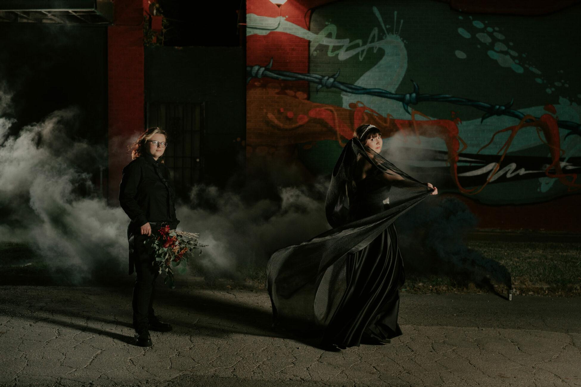 halloween-wedding-smoke-bomb-black-wedding-dress-viel-tulsa-wedding-photographer