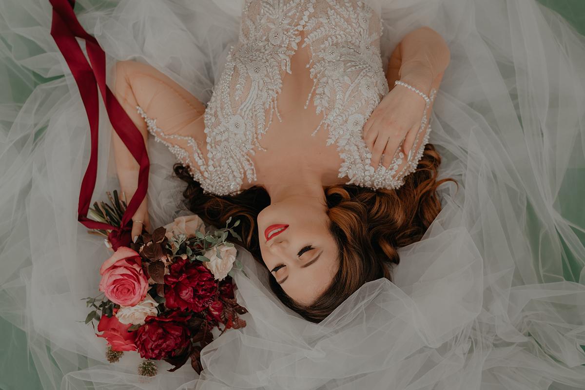 Tulsa-Wedding-Bridal-Photographer-Studio-green-backdrop-wedding-gown-beaded