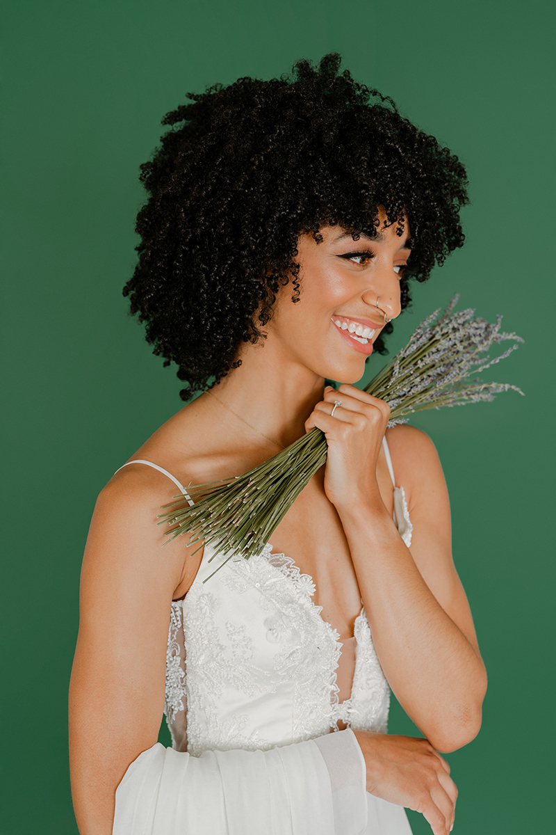Minimalistic-studio-bridal-photos-session-evergreen-lavendar-white-wedding-gown-african-american-natural-afro-hair-seattle-photographer